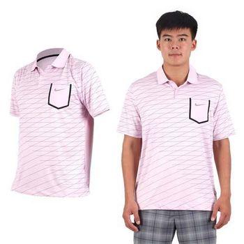 【NIKE】GOLF 男排汗短袖針織衫- 高爾夫球 POLO衫 立領 T恤 粉紅紫