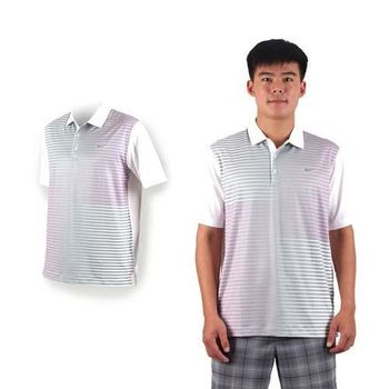 【NIKE】GOLF 男快速排汗短袖針織POLO衫- 高爾夫球 短袖 立領 灰白粉