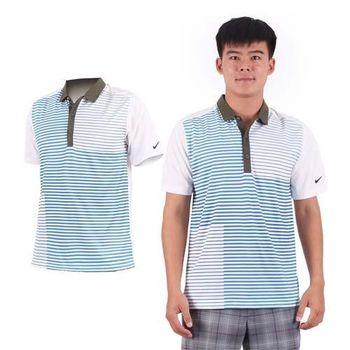 【NIKE】GOLF 男排汗短袖針織衫- 高爾夫球 POLO衫 立領 T恤 藍軍綠
