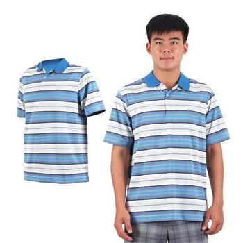 【NIKE】GOLF 男排汗彈力UV短袖針織POLO衫- 高爾夫球 立領 藍黑白