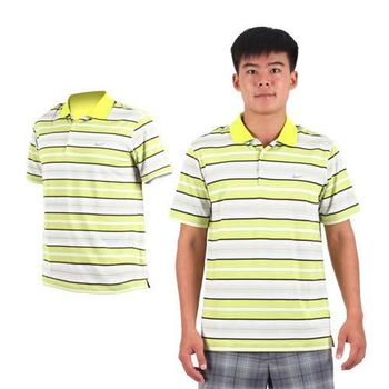 【NIKE】GOLF 男排汗彈力UV短袖針織POLO衫- 高爾夫球 立領 芥末綠白