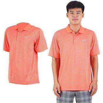【NIKE】GOLF 男快速排汗條紋針織POLO衫-高爾夫球 短袖 立領 橘白