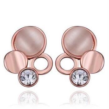 【米蘭精品】純銀耳環鍍18K金貓眼石耳飾時尚大方鑲鑽別緻73cg101