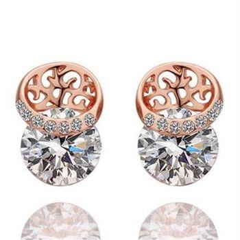 【米蘭精品】純銀耳環鍍18K金鑲鑽耳飾精緻玫瑰花時尚優雅73cg130