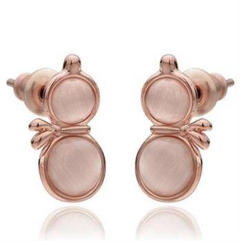 【米蘭精品】純銀耳環鍍18K金貓眼石耳飾時尚獨特葫蘆造型3色73cg134