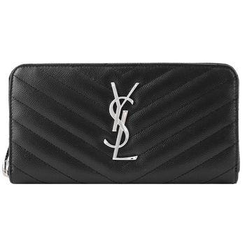 YSL MONOGRAM系列V字縫線魚子醬牛皮金屬LOGO拉鍊手拿長夾(黑)