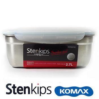 【司扣易 Komax】不鏽鋼密封保鮮盒(不鏽鋼色)長 2700ml