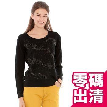 【KIINO】水舞貼鑽圓領羊毛50%針織衫(3842-1056-01)