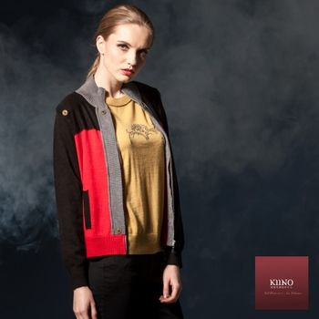 【KIINO】色塊拼接帥氣立領針織衫外套(3842-1612-03)