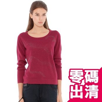 【KIINO】水舞貼鑽圓領羊毛50%針織衫(3842-1056-桃紅)