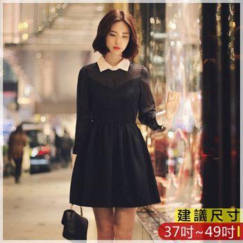 WOMA-W4552韓款小清新顯瘦翻領長袖修身洋裝(黑色)WOMA中大尺洋裝W4552