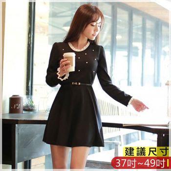 WOMA-W4612韓款經典圓領OL氣質釘珠修身洋裝(黑色)WOMA中大尺碼洋裝W4612