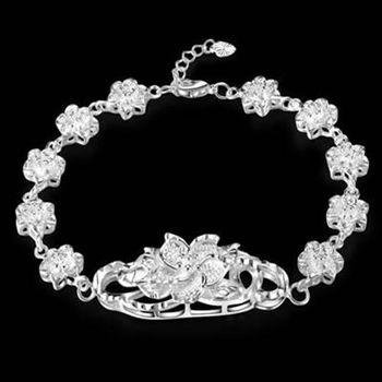 【米蘭精品】純銀手鍊925純銀銀飾獨特精緻優美花造型73ai67
