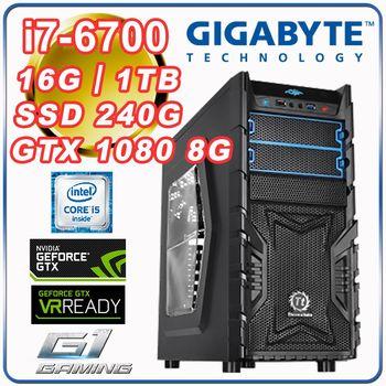 |技嘉Z170平台|電競遊戲機 Intel i7-6700四核 16G記憶體 1TB大容量 SSD 240G GTX 1080 8G 電競顯卡 電競桌上型電腦