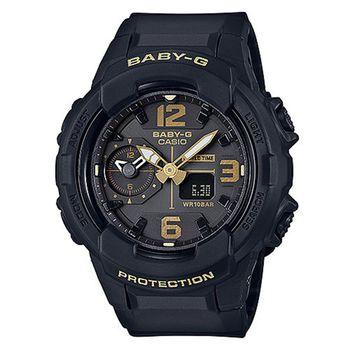 【CASIO 卡西歐】Baby-G 黑金個性時尚雙顯腕錶(46mm/BGA-230-1B)