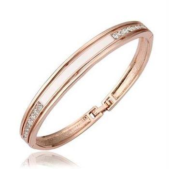 【米蘭精品】純銀手環鍍18K金鑲鑽手鍊時尚氣質優雅百搭73cf1
