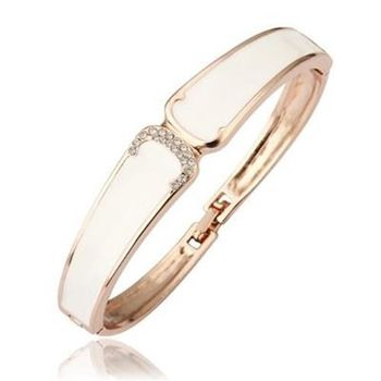 【米蘭精品】純銀手環鍍18K金鑲鑽手鍊精美細緻時尚優雅73cf2