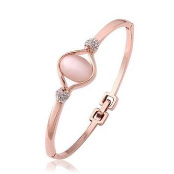 【米蘭精品】純銀手環鍍18K金貓眼石手鍊精美別緻鑲鑽優雅百搭73cf14