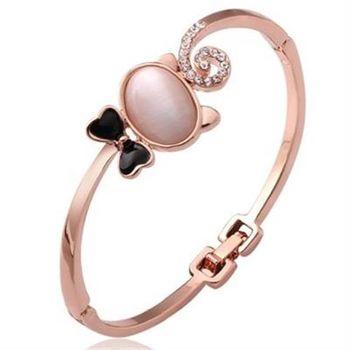 【米蘭精品】純銀手環鍍18K金貓眼石手鍊甜美可愛鑲鑽時尚73cf17