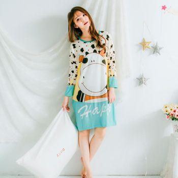 Wonderland LN6012 牛老大居家休閒洋裝(湖水綠)