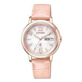 【CITIZEN星辰】亞洲限定XC 甜美知性光動能計時女用皮帶腕錶(EW2422-04A)