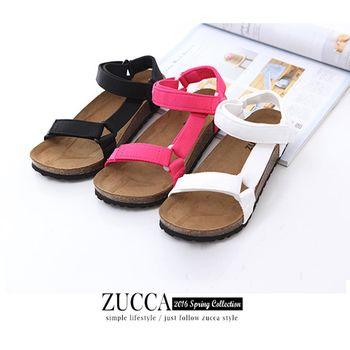 ZUCCA【Z5932】潮流尼龍帶魔鬼氈休閒涼鞋-白色/粉色