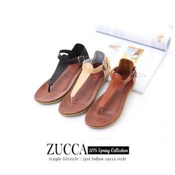 ZUCCA【Z5933】盛夏皮革T字夾腳休閒涼鞋-白色/黑色