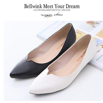 bellwink【B9314】基本素面款尖頭低跟包鞋-白色/黑色