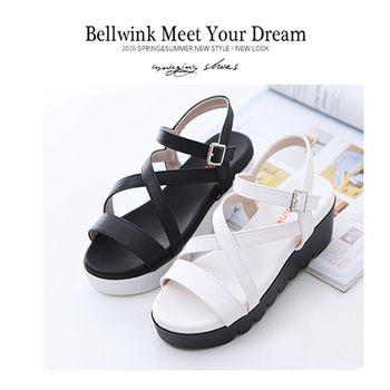 bellwink【B9311】交叉皮釦踝帶楔型厚底涼鞋-白色/黑色
