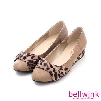 bellwink【B9008CL】豹紋皺褶朵結圓頭平底鞋-駝色