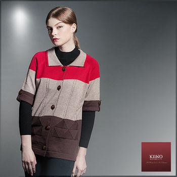 【KIINO】翻領復古五分袖針織外套(3852-1991)