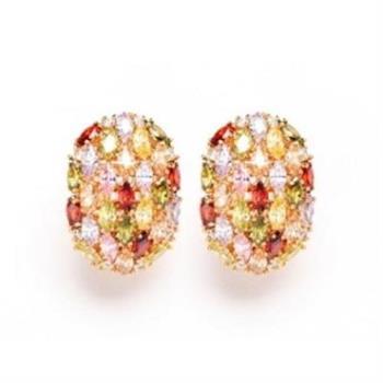【米蘭精品】純銀耳環鍍18K金鑲鑽耳飾歐美時尚繽紛耳夾式73cr83