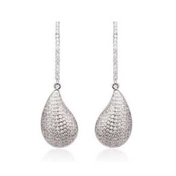 【米蘭精品】純銀耳環鍍白金鑲鑽耳飾韓版精緻時尚魅力73cr175