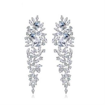 【米蘭精品】純銀耳環鍍白金鑲鑽耳飾歐美亮眼婚禮晚宴73cr176