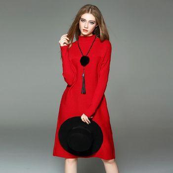 【M2M】純色高領針織修身長袖開衩連衣裙(共三色)