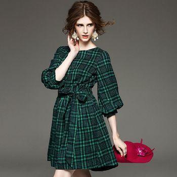 【M2M】格紋燈籠袖繫帶大擺連衣裙(共三色)