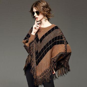 【M2M】蝙蝠袖針織粗毛線披肩斗篷上衣(共二色)