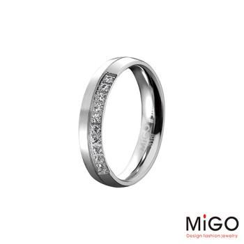 MiGO 珍愛施華洛世奇美鑽/白鋼女戒指