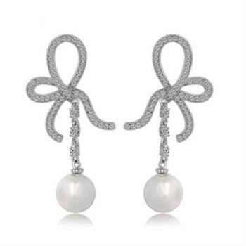 【米蘭精品】純銀耳環鍍白金鑲鑽耳飾韓版時尚造型個性73cr167