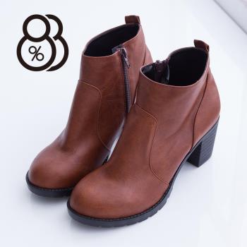 【88%】MIT台灣製 英倫風簡約側拉鍊車線設計 高質感粗跟高跟短靴 2色