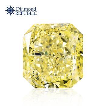 【鑽石共和國】GIA 方型黃彩鑽0.11克拉 Fancy Yellow / 無淨度鑑定 / 無雷射編號