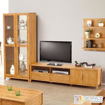 Bernice-布朗8.7尺實木L型電視櫃組合