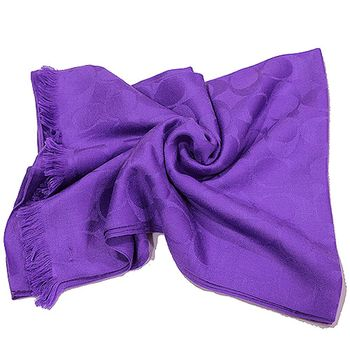 COACH Clogo寬版羊毛圍巾(紫色)