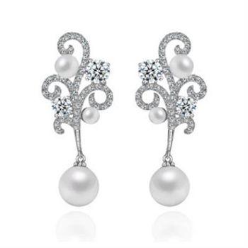【米蘭精品】純銀耳環鍍白金鑲鑽耳飾氣質高貴奢華特別73cr126
