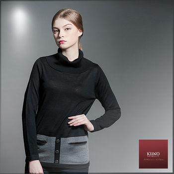 【KIINO】色塊拼接寬高翻領針織上衣(3852-1902)