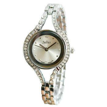 【買一送一】【韓國Julius】璀璨晶鑽時尚腕錶-銀