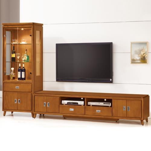 Bernice-安德倫9.4尺實木L型電視櫃組合