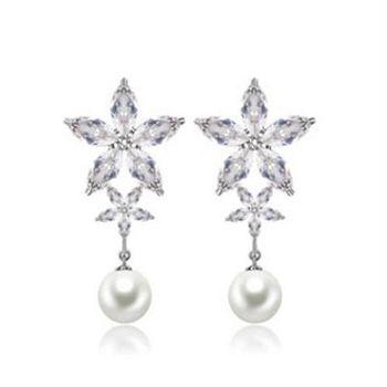 【米蘭精品】純銀耳環鍍白金鑲鑽耳飾歐美高檔奢華亮眼73cr299