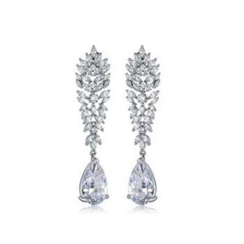 【米蘭精品】純銀耳環鍍白金鑲鑽耳飾華麗高貴奢華典雅73cr304