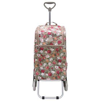 卡蘿輕便時尚購物車-30L三輪-綠底薔薇 (可上下樓梯)